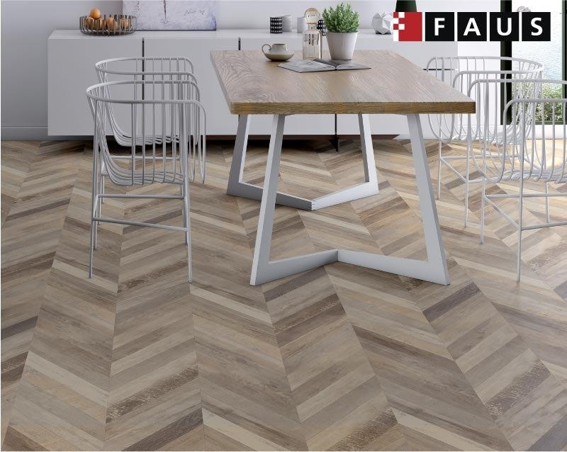 Faus Chevron Cream moisture resistant click flooring 8mm