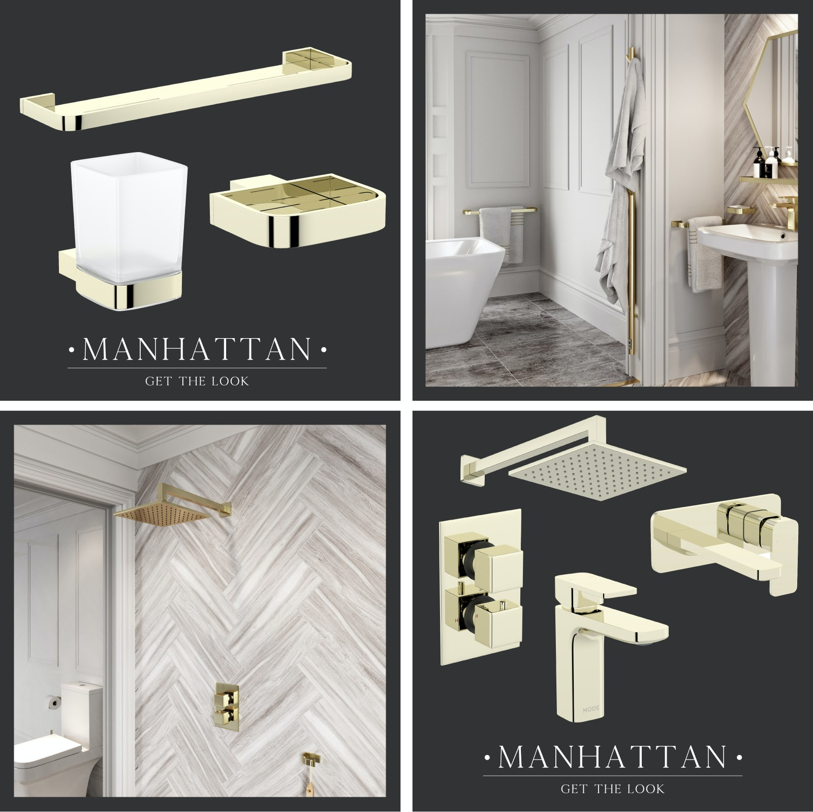 Manhattan bathroom coloured metallic finishes