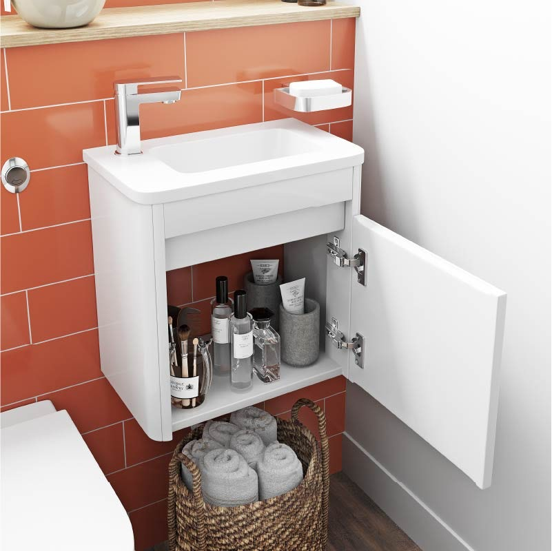 Mode De Gale white cloakroom wall hung vanity unit and left hand basin 410mm