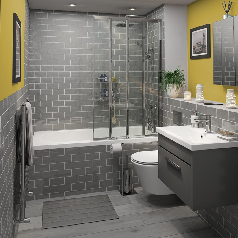 Pantone colour of the year 2021 Ultimate Grey and Illuminating used in a bathroom