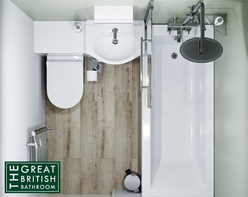 Small bathroom with a bath overhead