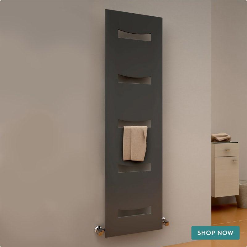 Reina Ancora anthracite grey steel designer radiator 1800 x 490