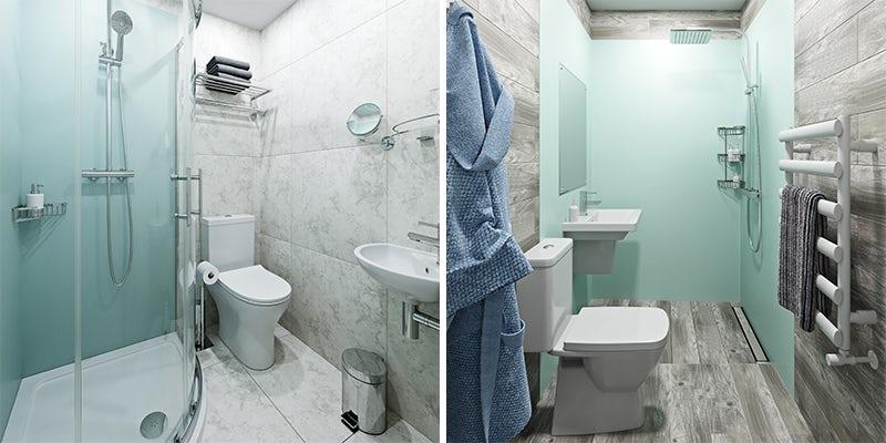 Blue shower wall panels