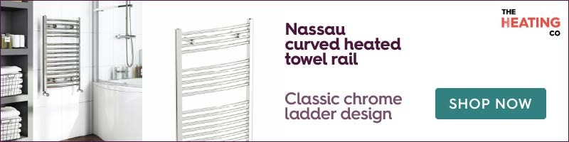 The Heating Co. Nassau chrome curved heated towel rail