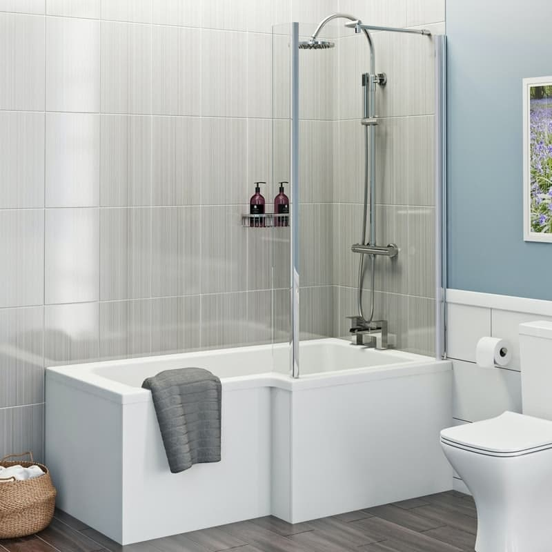L shaped shower bath