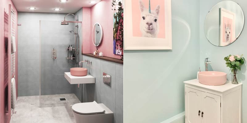 Pink and blue bathroom colour combination ideas