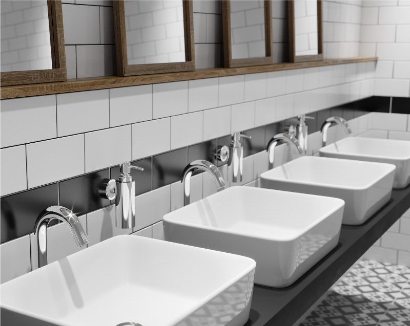 Commercial washbasins and taps