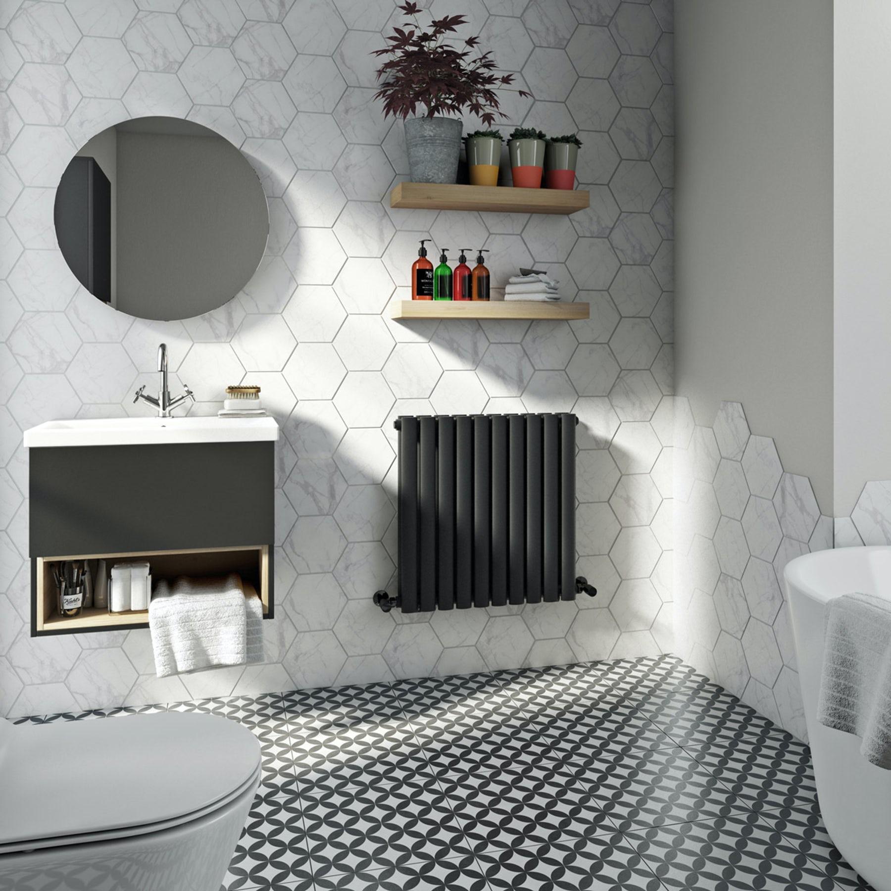 The Heating Co. Salvador anthracite grey double horizontal radiator