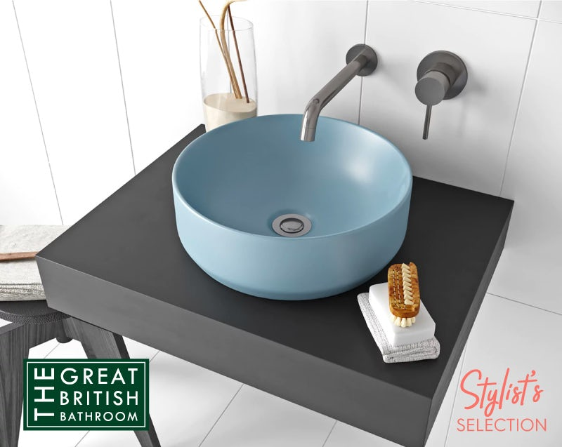 Mode Orion blue coloured countertop basin