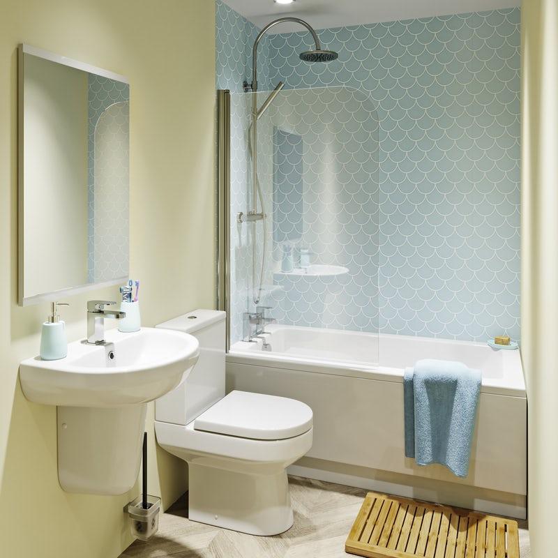 Space-saving shower bath in a small bathroom