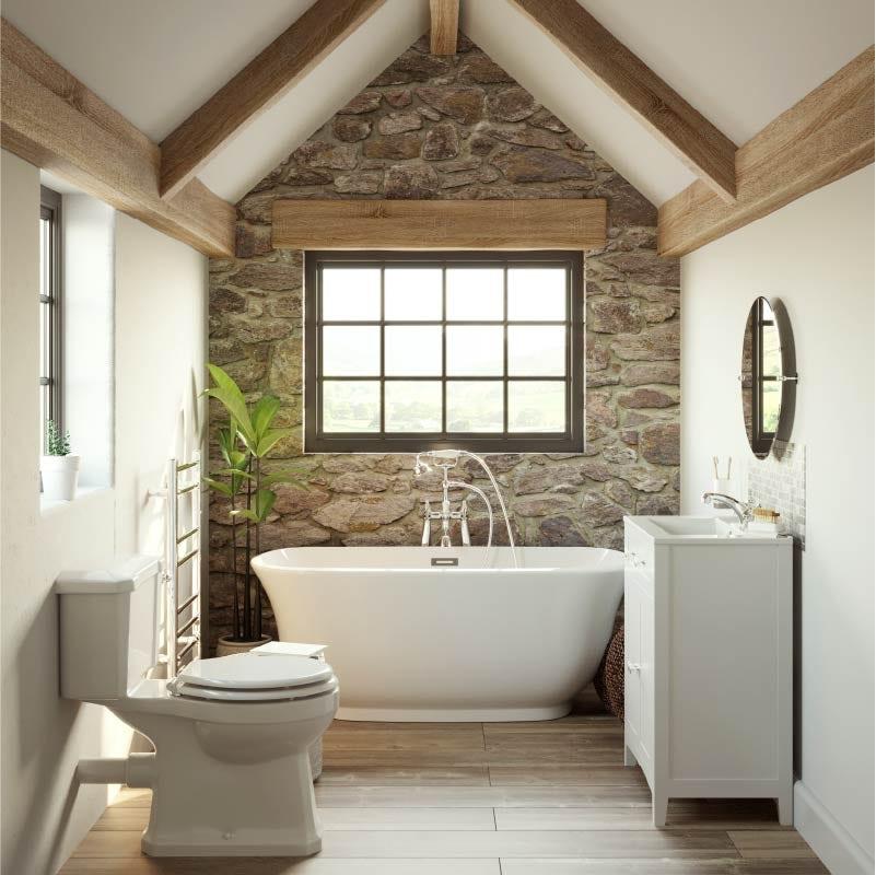 Refined Rustic small bathroom with bath