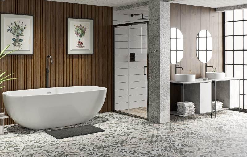 Soft industrial bathroom ideas