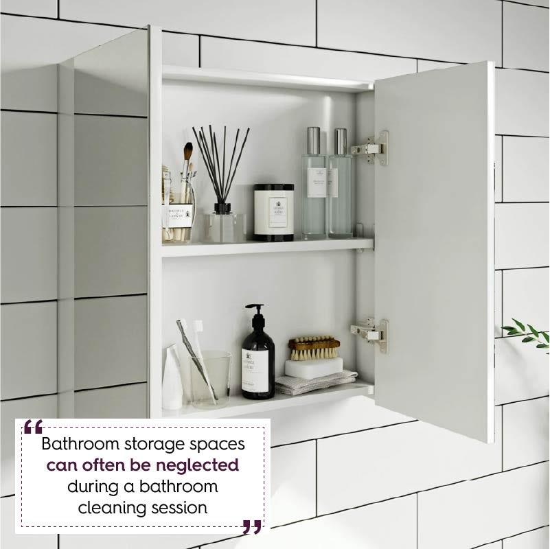 Clarity white 2 door bathroom mirror cabinet