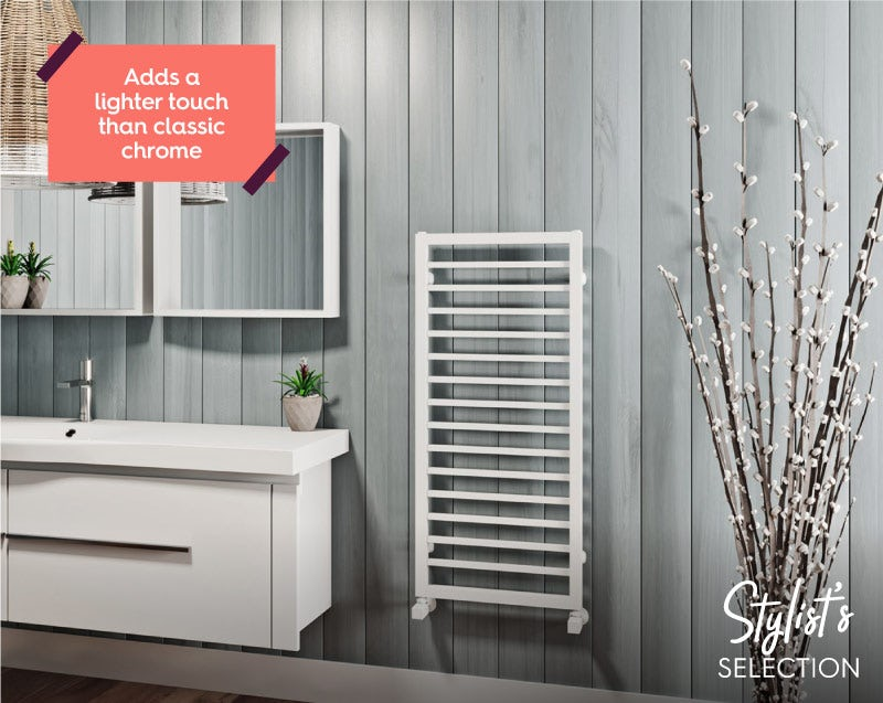 Mode Burton white heated towel rail
