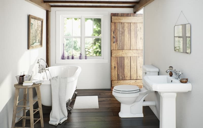 Vinyl and laminate flooring for period style bathrooms