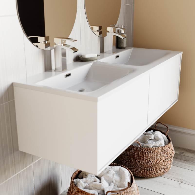 Lagom bathroom—wall hung vanity unit and basins