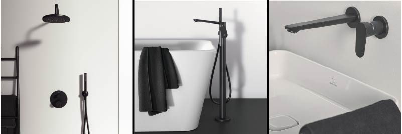 Ideal Standard Silk Black showers and taps