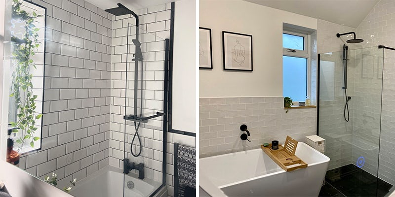 Black accents showers