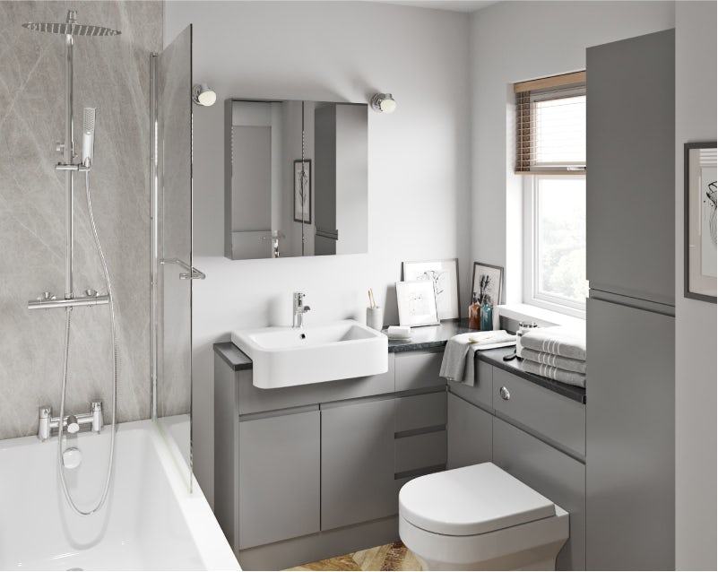 Wharfe slate grey fitted bathroom furniture