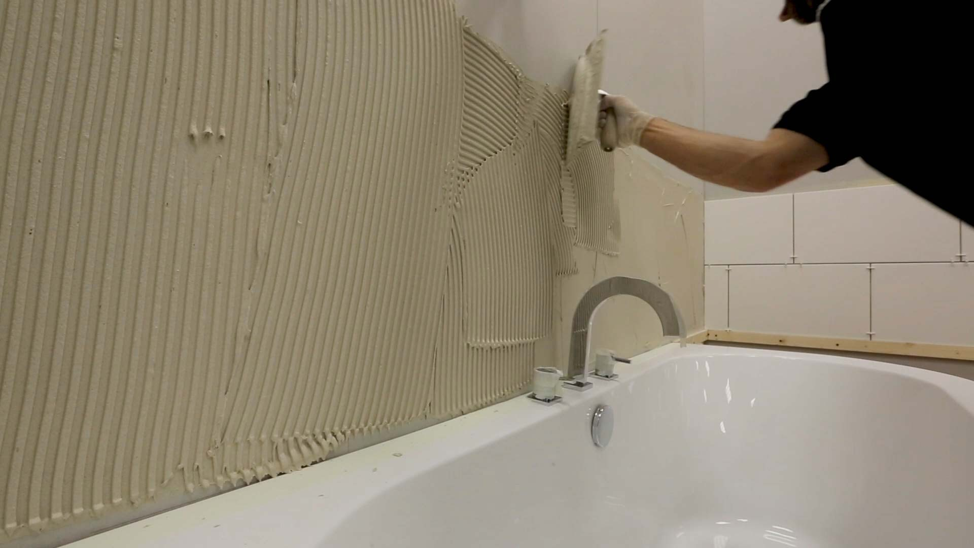 how to mix apply tile adhesive work