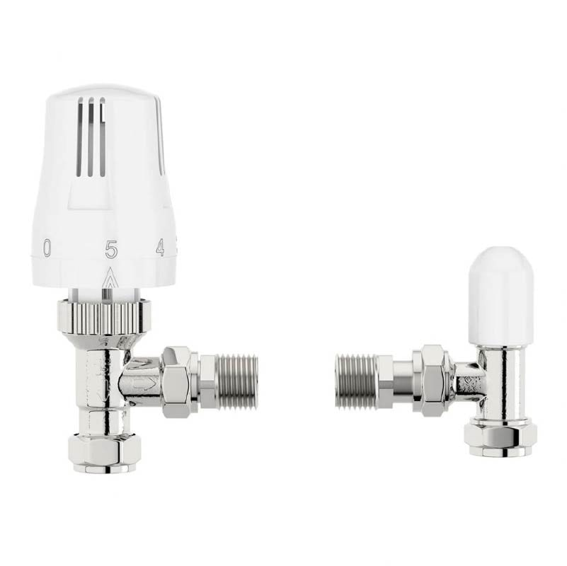 The Heating Co. Thermostatic white angled radiator valves with lockshield