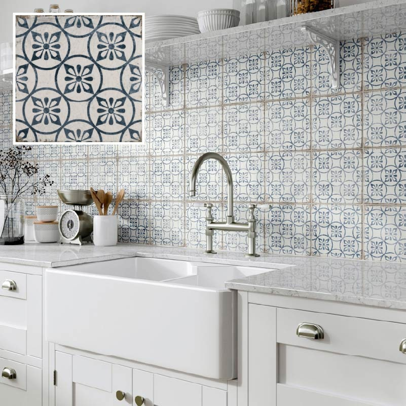 The Bath Co. Aragon petal blue matt wall and floor tile 200mm x 200mm