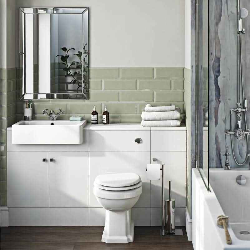 The Bath Co. Hatfield white 1468mm combination with traditional back to wall toilet and soft close seat
