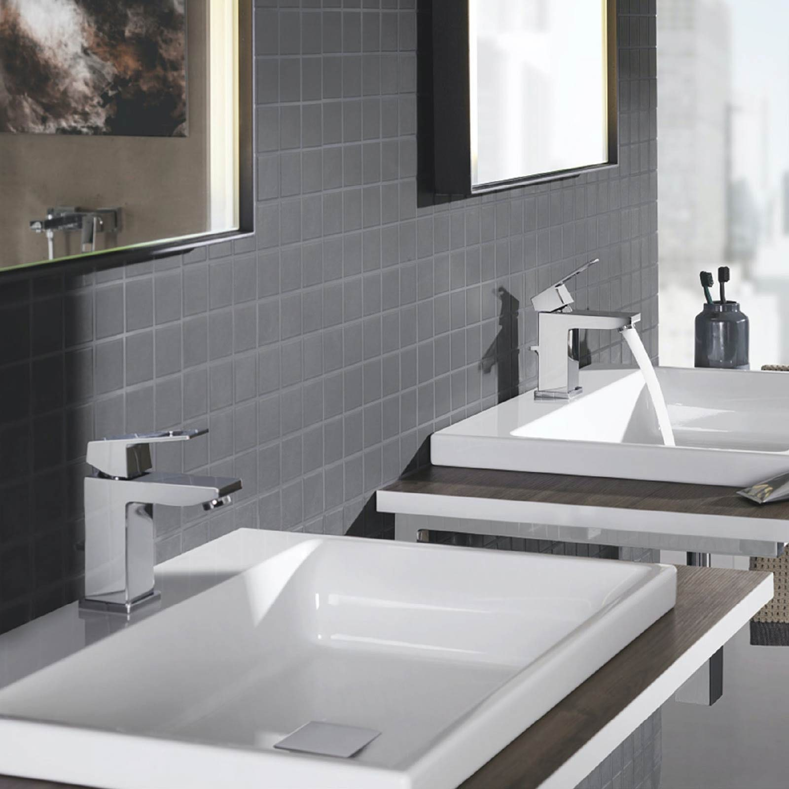 Grohe Eurocube basin mixer tap with waste