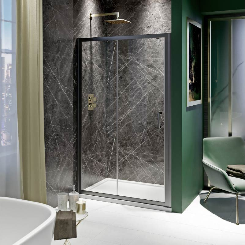 Manhattan bathroom green and gold combination