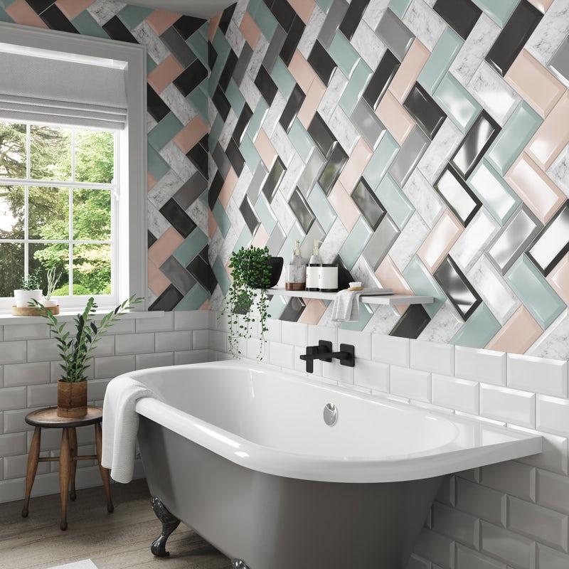 Herringbone metro tiles pattern