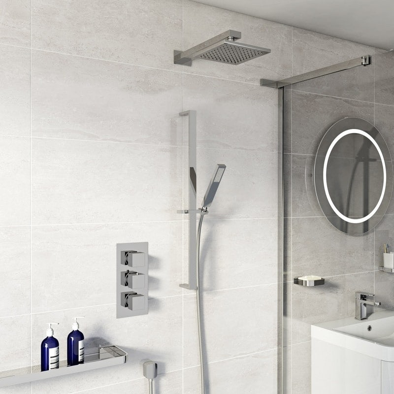 Mode Ellis thermostatic triple shower valve complete shower set