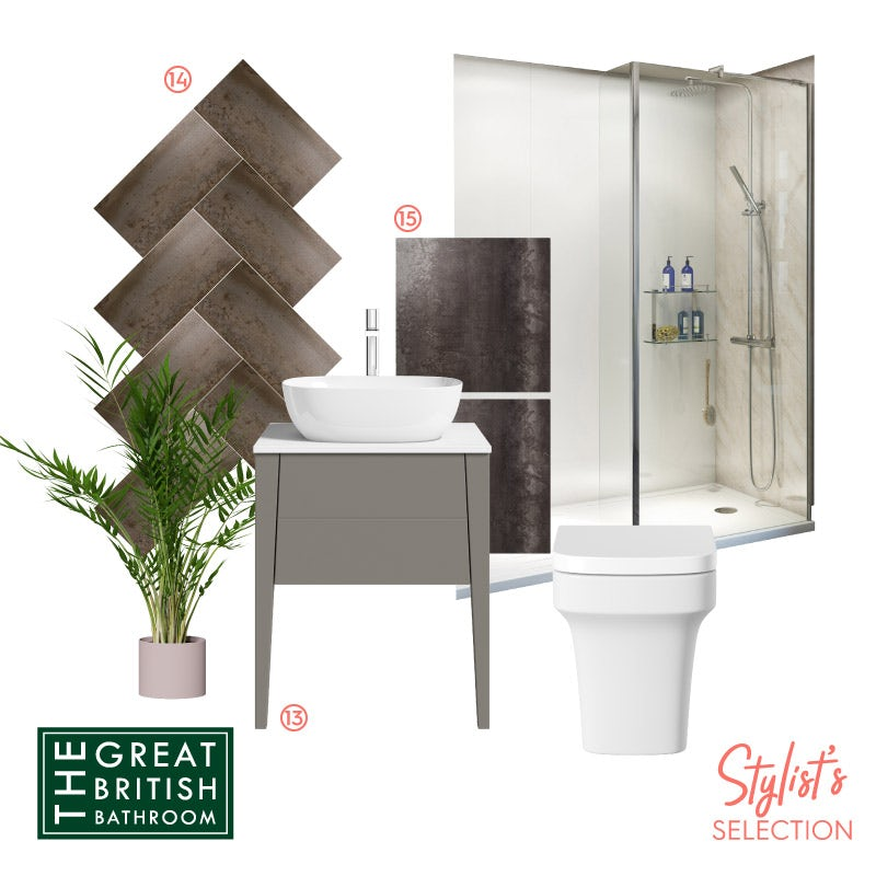 Metallic extravagance bathroom mood board