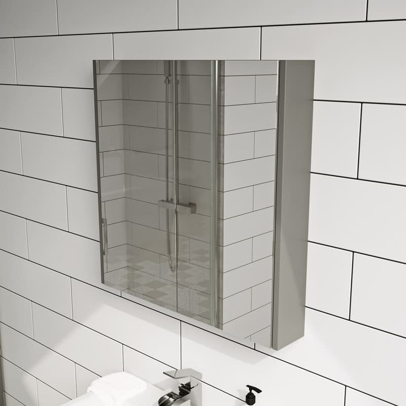 Clarity satin grey mirror cabinet 600 x 600mm