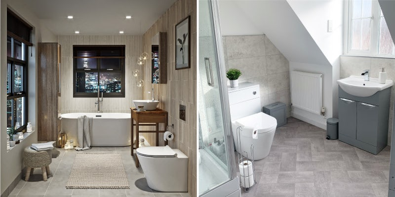 Stone effect tiles can be used to achieve the Soft Neutrals bathroom trend