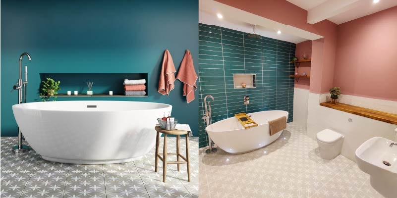 Discover Laura's stunning pink and blue bathroom