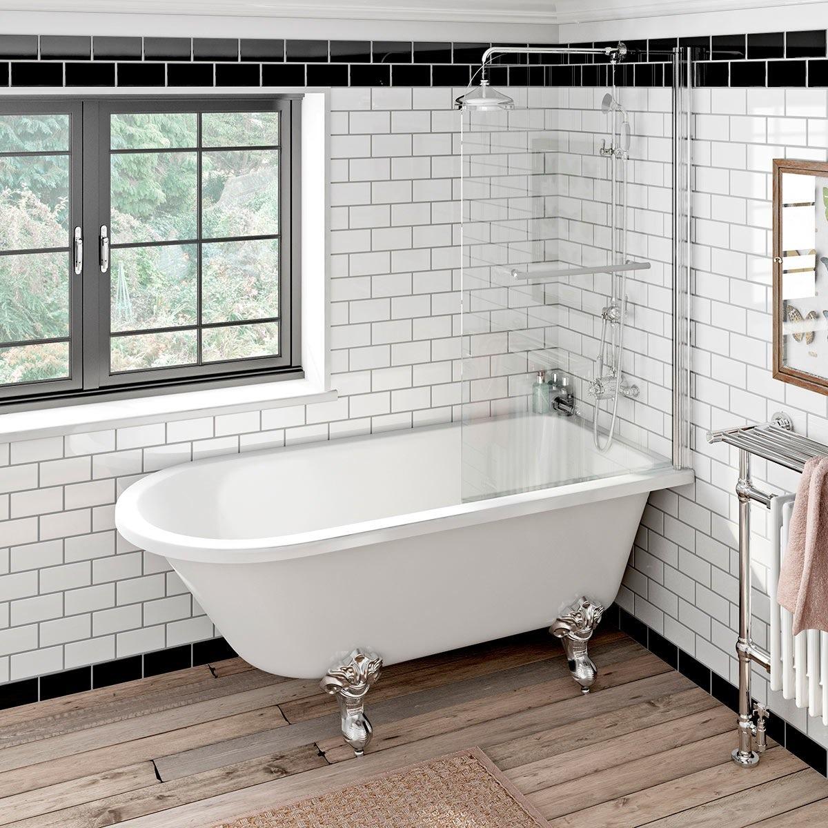 Orchard Dulwich freestanding shower bath and bath screen