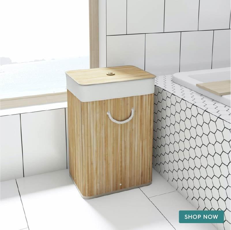 Accents Natural bamboo rectangular laundry basket