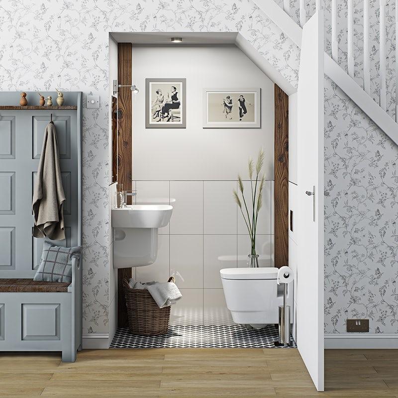 Foster cloakroom suite with semi pedestal basin