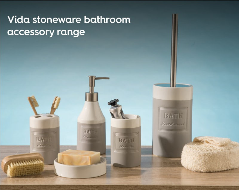 Vida stoneware bathroom accessory range