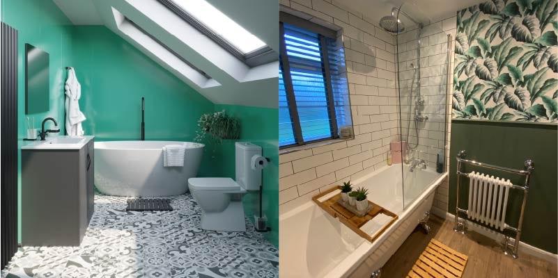 Green and white bathroom colour combination ideas
