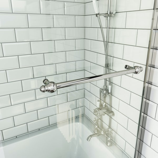 The Bath Co. traditional straight shower bath with 8mm Camberley shower screen and rail