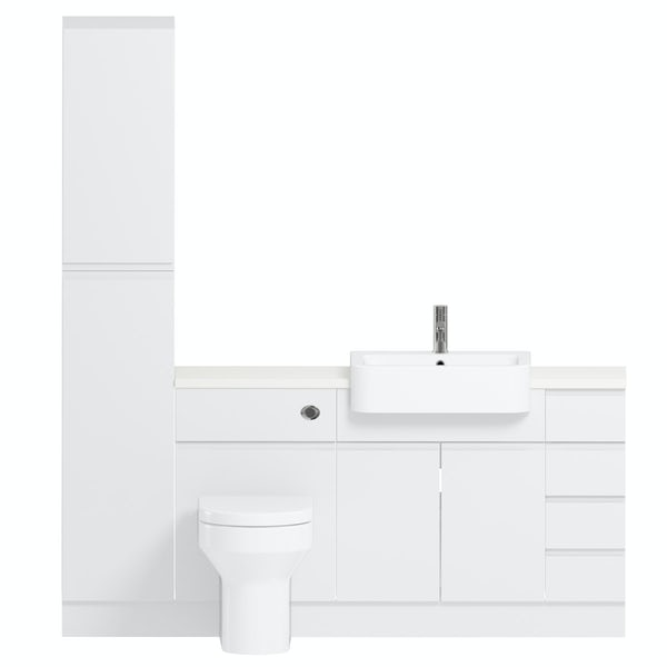 Reeves Wharfe white straight small drawer fitted furniture pack with white worktop