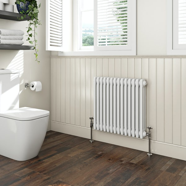 The Bath Co. Camberley white 3 column radiator 600 x 654