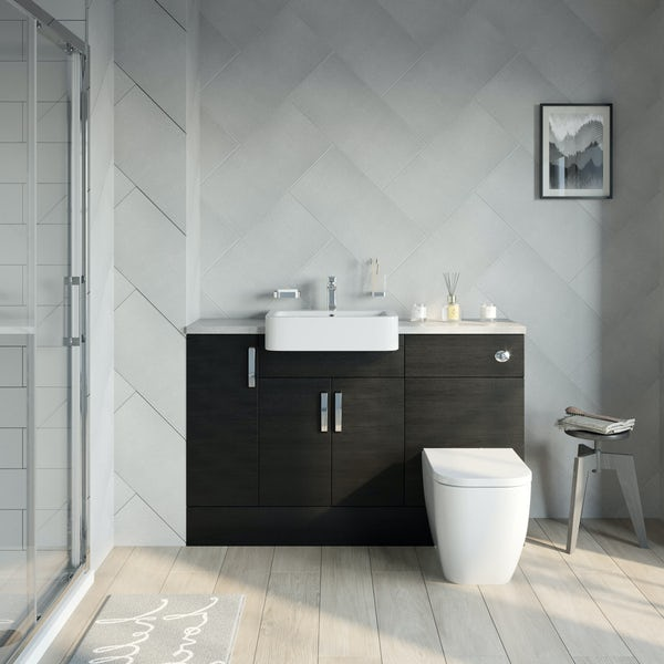 Reeves Nouvel quadro black small fitted furniture combination with pebble grey worktop