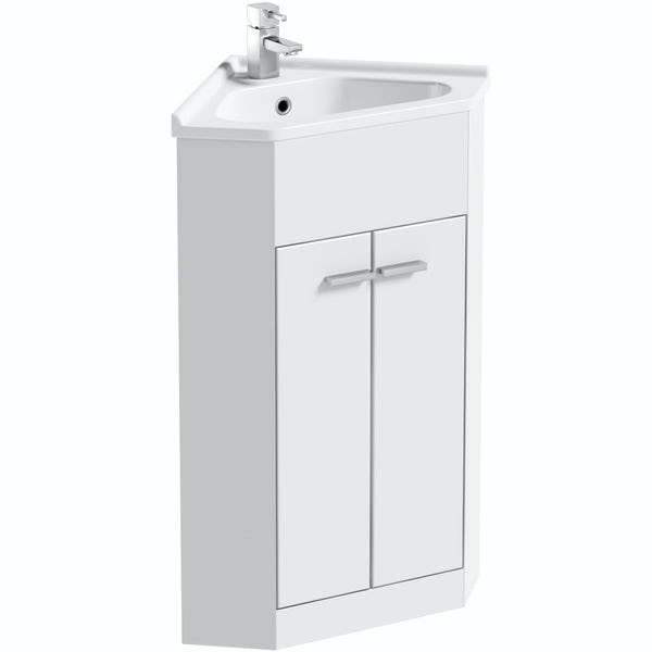 Clarity Compact white corner floorstanding vanity unit and ceramic basin 580mm with tap