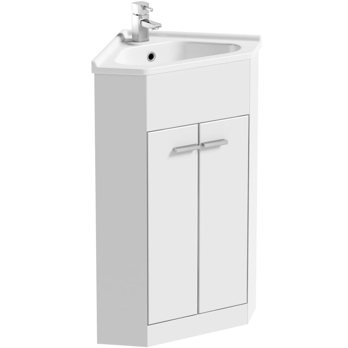 Clarity Compact White Corner Floorstanding Vanity Unit And