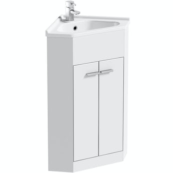 Clarity Compact white corner vanity unit