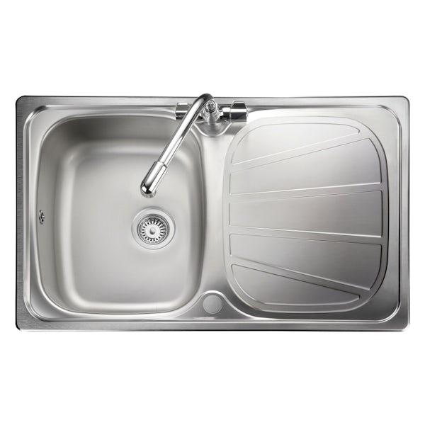 Rangemaster Baltimore 1.0 bowl compact reversible kitchen sink with waste
