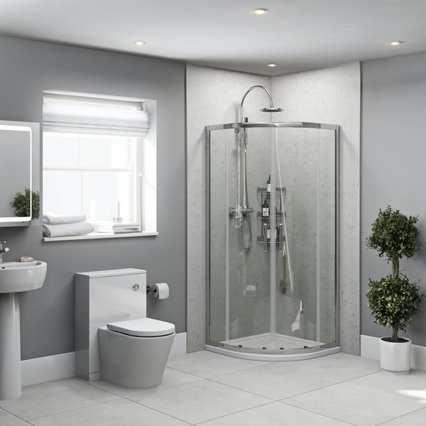 Orchard White Marble shower wall panel corner installation pack 1000 x 1000