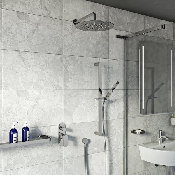 Spa Round Manual Shower Valve with Diverter and Wall Shower Set
